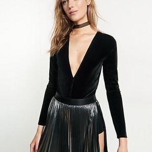 Express Velvet deep-v body suit